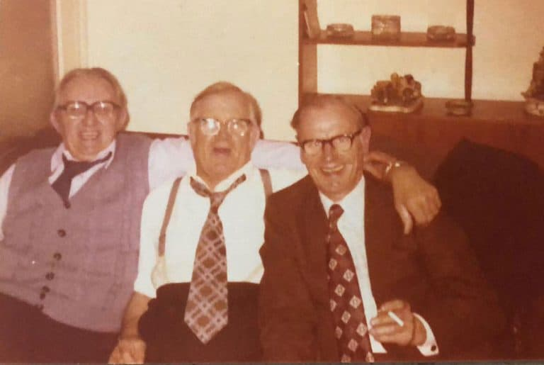 My Grandad and pals in front of some horrendous 1970s ornaments amd the cupboard I would explore every week